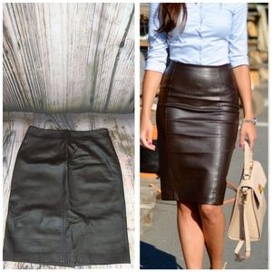 Kasper Leather Chocolate Brown Skirt Size 14